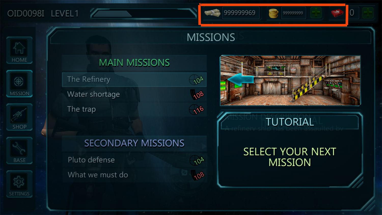 در تصویر زیر معلوم است که در نسخه مود از بازی Battlefield Combat Nova Nation سکه و پول بی نهایت در اختیار دارید :
