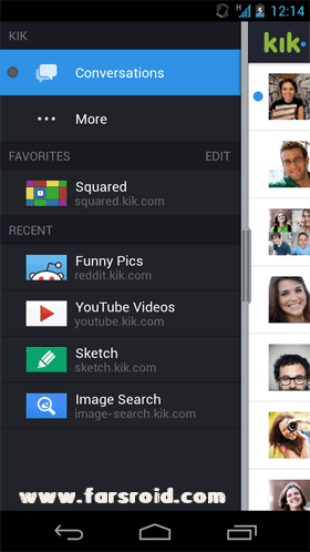 Kik Messenger Android برنامه اندروید