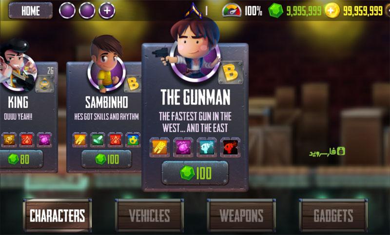 در تصویر زیر کاملا مشخص است که در نسخه مود از بازی Ramboat: Hero Shooting Game سکه و الماس بی نهایت در اختیار دارید: