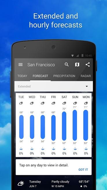 دانلود 1Weather:Widget Forecast Radar Pro 4.5.2.0 - برنامه هواشناسی کامل و قدرتمند وان ودر اندروید!