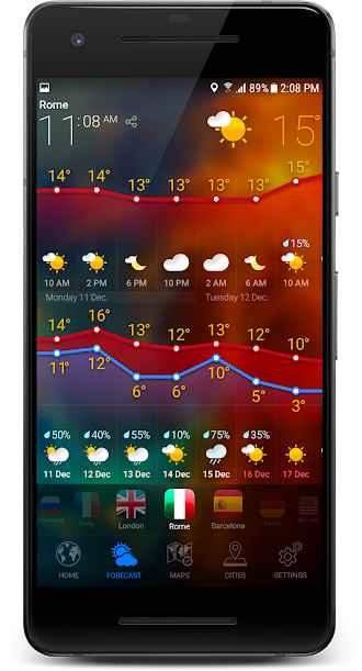دانلود 3D Earth Pro - Weather Forecast, Radar & Alerts UK 1.1.1 - برنامه هواشناسی سه بعدی مخصوص اندروید !