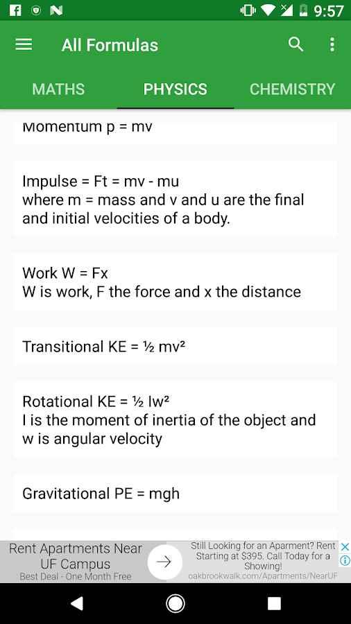 دانلود All Formulas 1.4.4 - برنامه مجموعه فرمول ها علمی اندروید !
