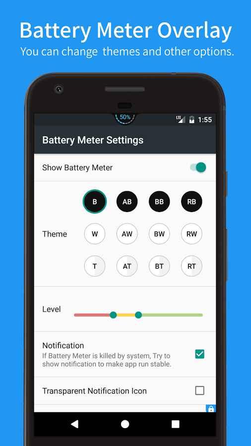 دانلود Battery Meter Overlay Pro 3.2.0 - برنامه نمایش درصد باتری اندروید!