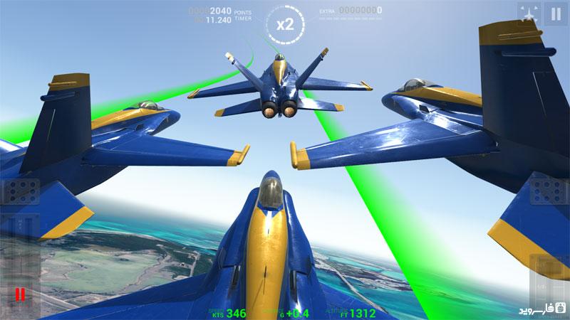 دانلود Blue Angels - Aerobatic SIM 1.2 - بازی شبیه ساز پرواز اندروید + مود + دیتا