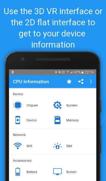 دانلود CPU Information Pro : Your Device Info in 3D VR 4.2.5-pro - برنامه نمایش اطلاعات اسمارت فون اندروید!