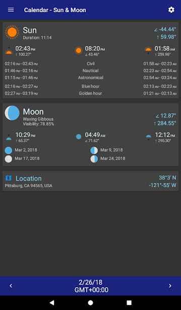 دانلود Calendar - Sun & Moon 2.3.12 - برنامه تعیین موقعیت خورشید و ماه مخصوص اندروید!