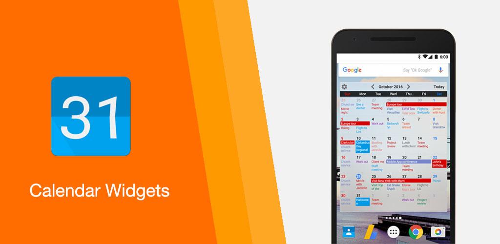 Calendar Widgets Month Agenda calendar widget Premium