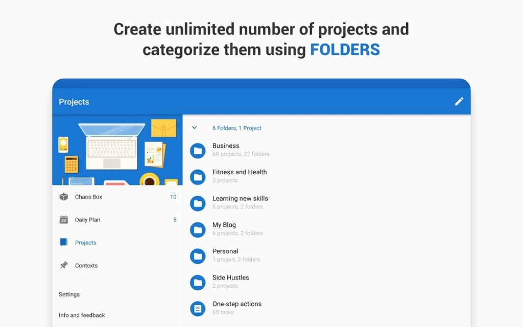 دانلود Chaos Control: GTD Organizer & Task List Manager Premium 1.14.1 - برنامه مدیریت اهداف و لیست وظایف اندروید