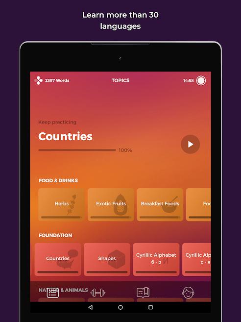 دانلود Drops: Learn 31 new languages 32.0 - برنامه یادگیری زبان انگلیسی آمریکایی اندروید
