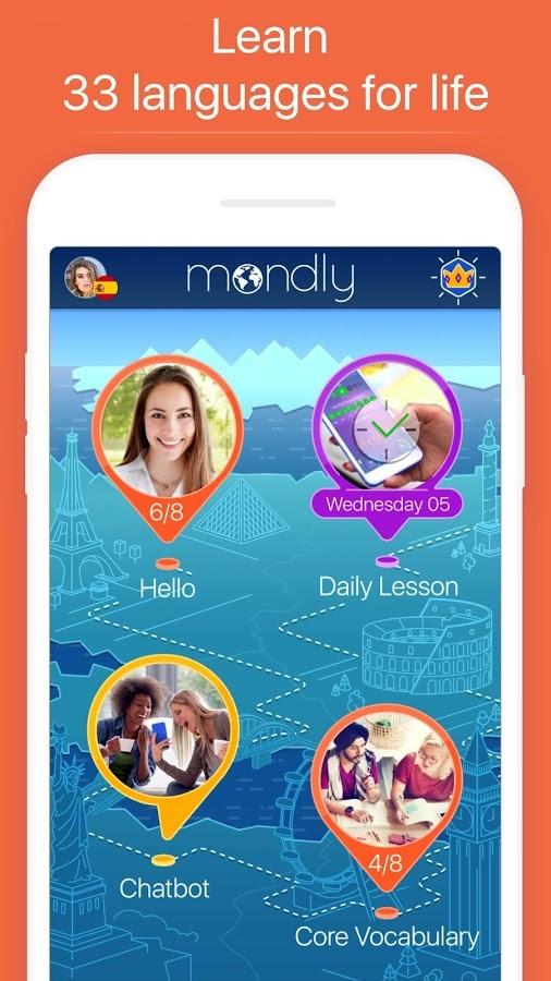 دانلود Mondly Learn 33 Languages Free 7.3.0 -