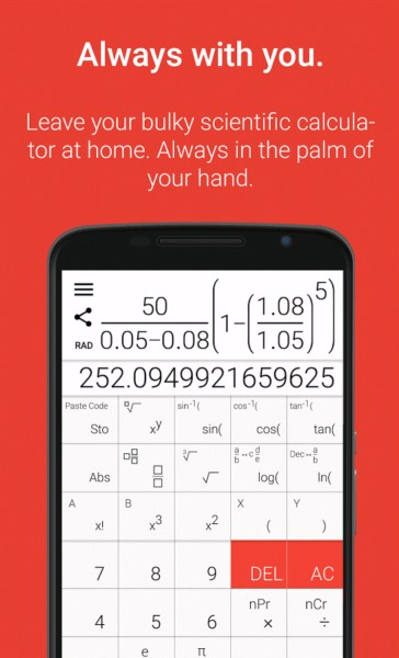 دانلود Natural Scientific Calculator Premium 6.0.5 - ماشین حساب فوق حرفه ای و مهندسی اندروید