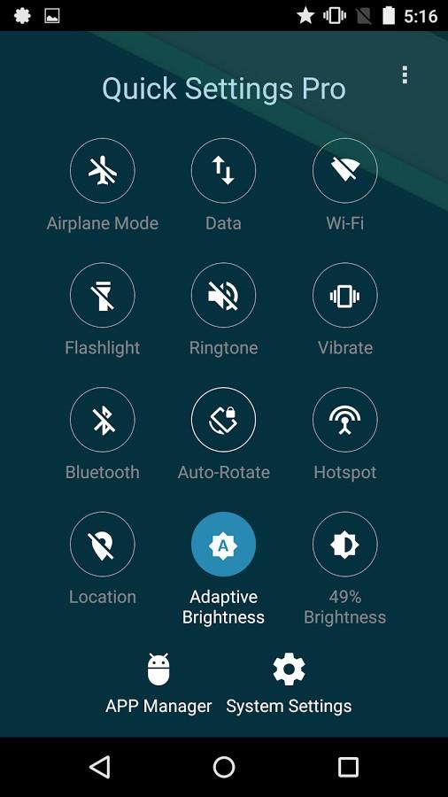 دانلود Quick Settings Pro - Toggle & Flashlight 2.5 - برنامه تنظیمات سریع اندروید !