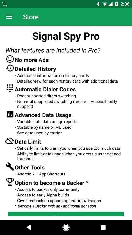 دانلود Signal Spy - Monitor Signal Strength & Data Usage Pro 1.9.9.8 - برنامه نمایش اطلاعات سیگنال و مصرف داده اندروید