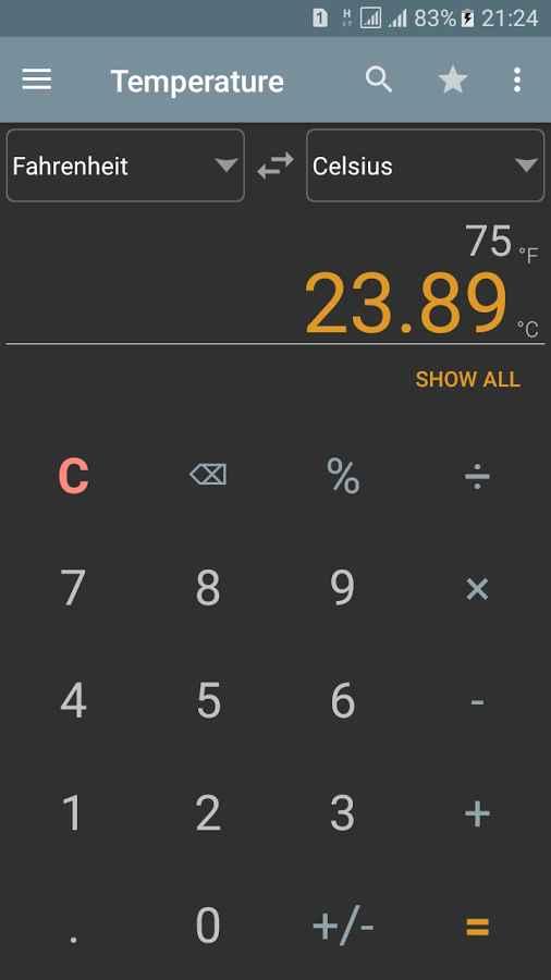 دانلود Unit Converter Calculator Pro 1.30.pro - برنامه ماشین حساب و تبدیل واحد ساده اندروید