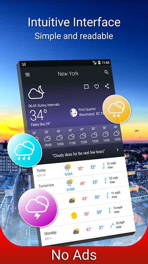 دانلود Weather 14 days Pro 6.7.3 - برنامه پیش بینی دقیق شرایط آب و هوایی اندروید !