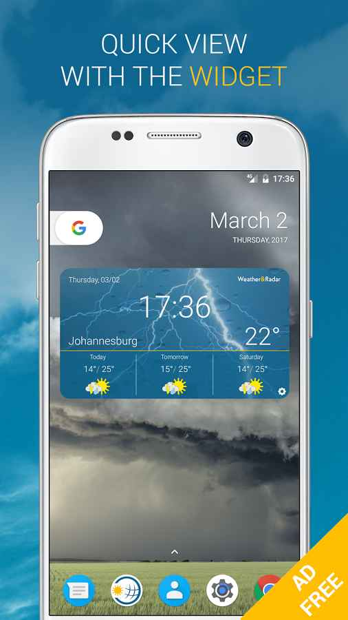 دانلود Weather & Radar Pro Ad-Free 2019.22.1 - برنامه دقیق هواشناسی اندروید + آنلاک