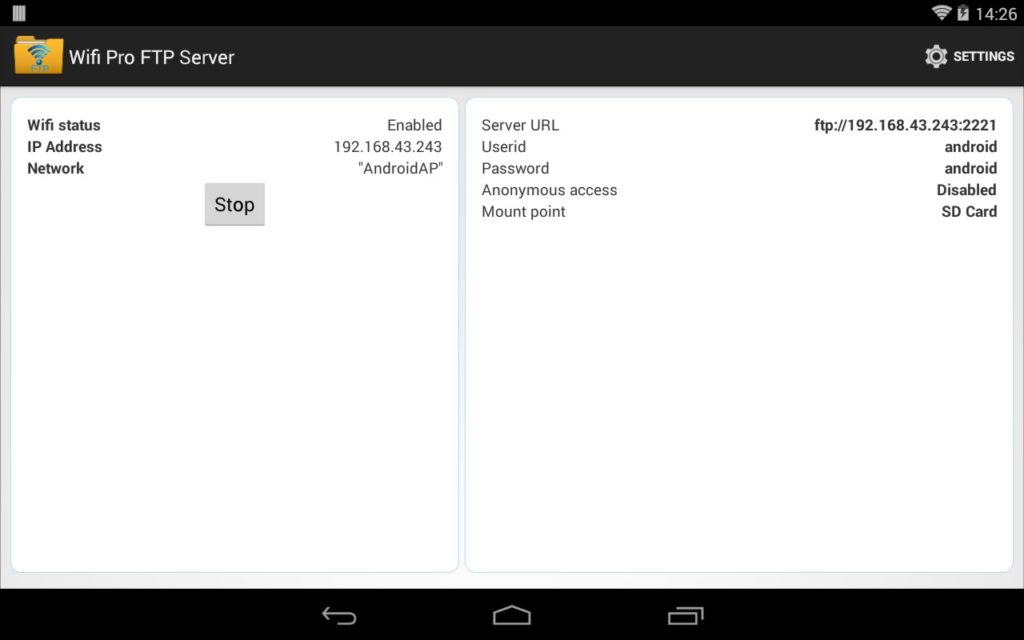 دانلود WiFi Pro FTP Server 1.8.8 - برنامه تبدیل اندروید به سرور FTP