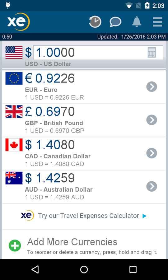 دانلود XE Currency Pro 4.6.3 - مبدل پرامکانات ارز برای اندروید !