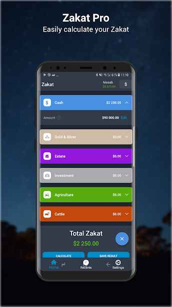 دانلود Zakat Pro Calculator Premium 1.0.6 - برنامه محاسبه زکات مخصوص اندروید