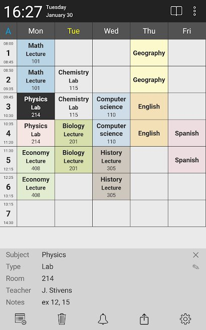 دانلود Timetable planner - for school and university 2.4.7 – اپلیکیشن ایجاد برنامه کلاسی دانشگاه و مدرسه مخصوص اندروید + مود