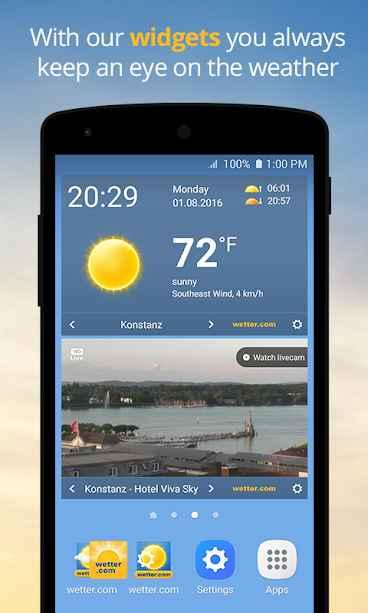 دانلود wetter.com - Weather and Radar Full 2.29.2 - برنامه هواشناسی دقیق و پر امکانات اندروید!